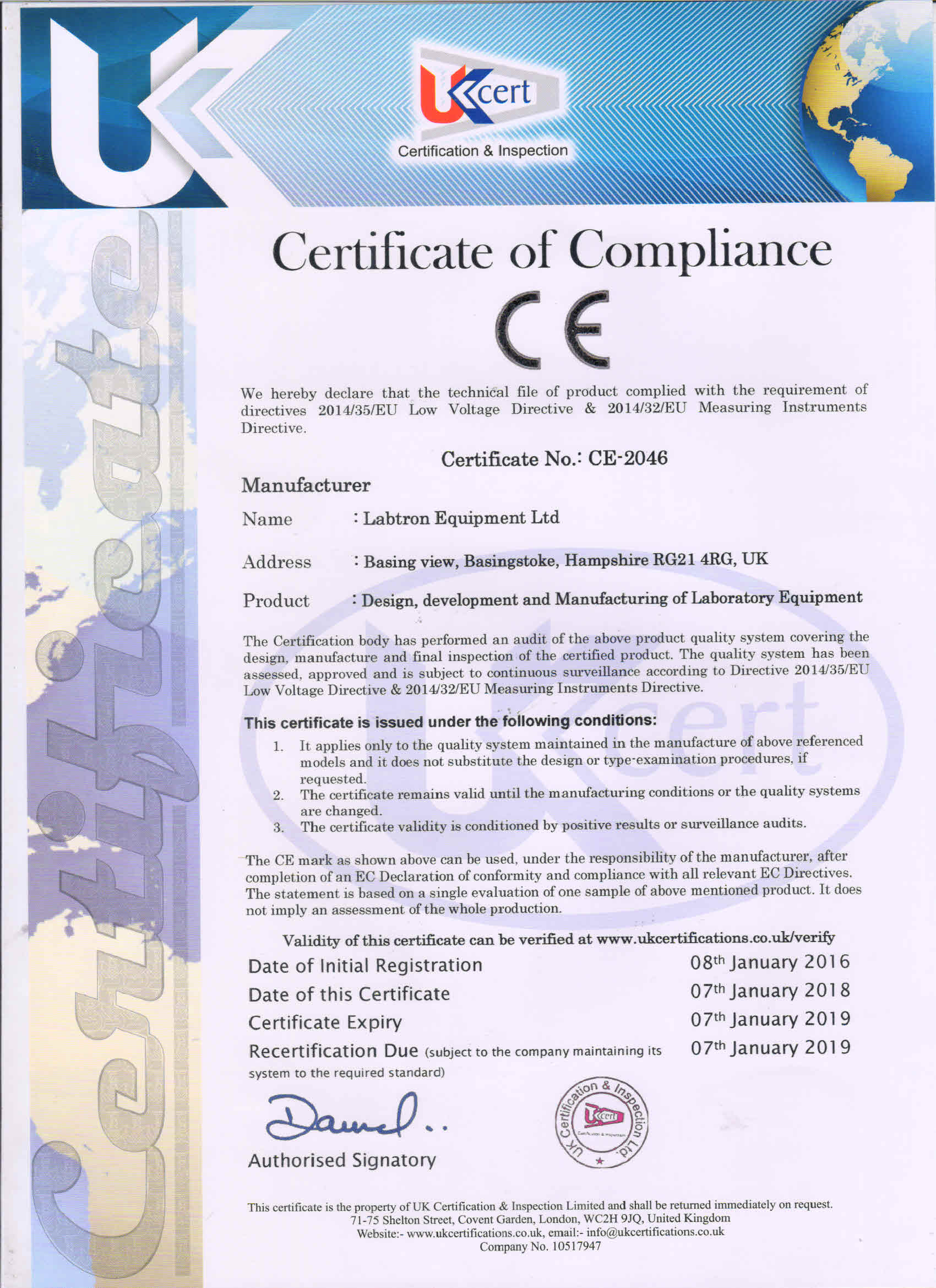 Labtron Equipment Ltd. CE-2046 : Labtron Certification