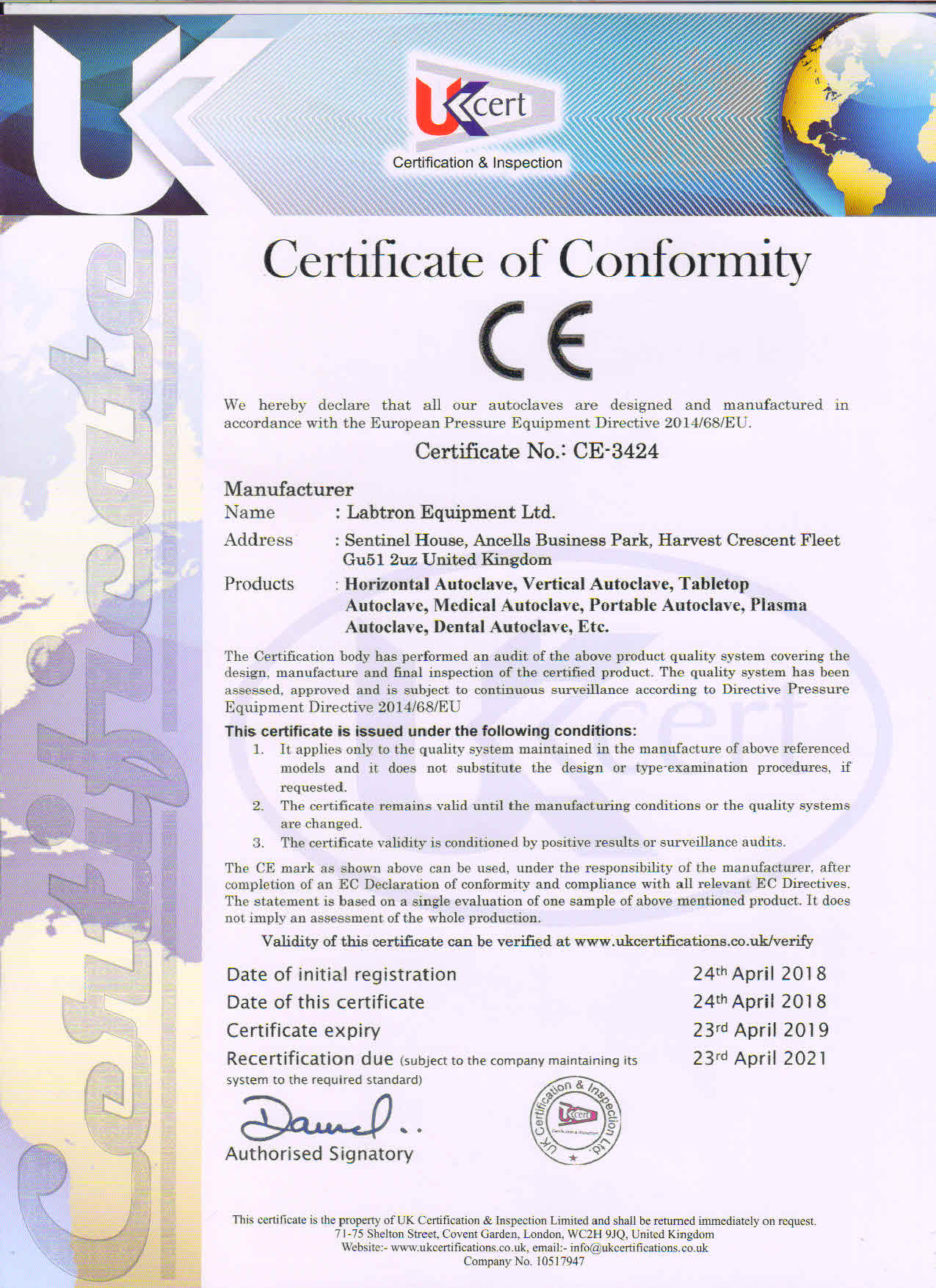 Labtron Equipment Ltd. ISO 9001 UKCert : Labtron Certification