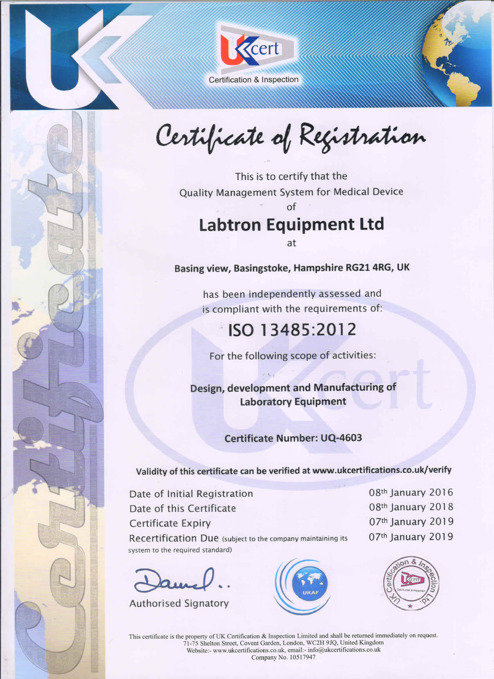 Labtron Equipment Ltd. GMP ISO 13485 UKCert : Labtron Certification