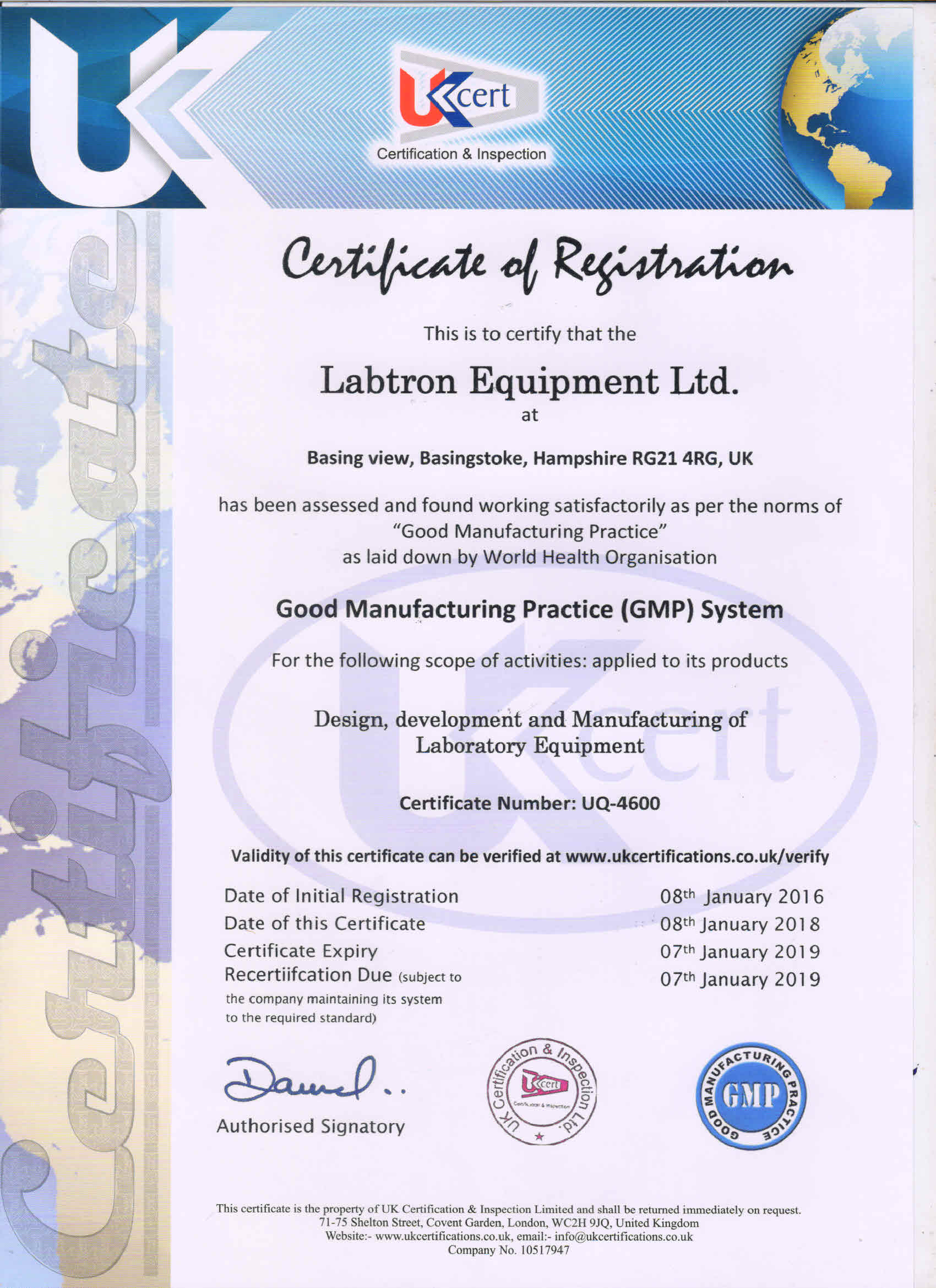 Labtron Equipment Ltd. GMP UQ-4600 UKCert : Labtron Certification